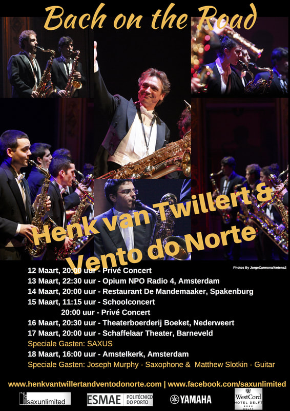 Saxophonist Henk van Twillert and Vento do Norte saxophone ensemble on tour in Holland